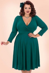 50s Lyra Long Sleeves Dress in Sea Green
