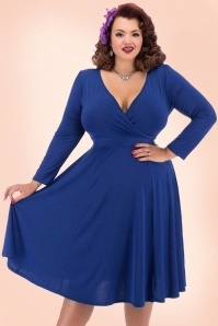 50s Lyra Long Sleeves Dress in Cobalt Blue