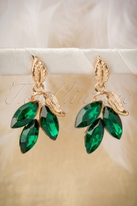 I Love My Gold Green Leaves Earrings Années 30