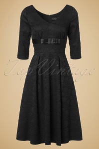 50s Jane Jacquard Swing Dress in Black