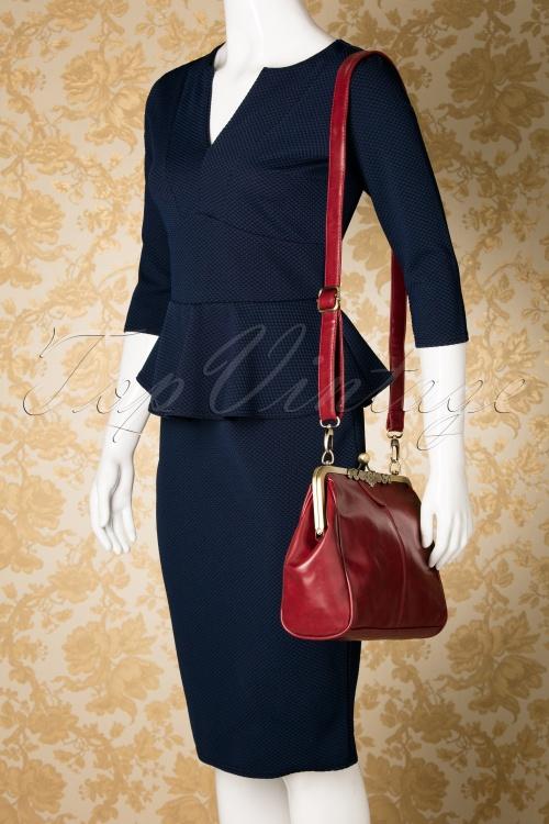 649701aca54 20s Vintage Frame Kisslock Clasp Bag in Burgundy