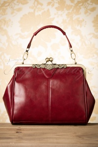 Kaytie 20s Vintage Frame Kisslock Clasp Bag in Burgundy