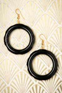 TopVintage Exclusive ~ 20s Abigail Carved Hoop Earrings in Black