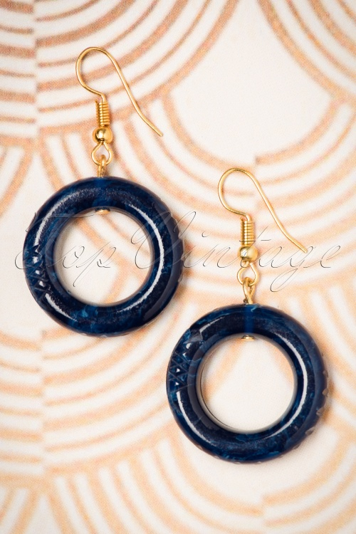 Splendette Small Navy Faketile Hoop Earrings 333 31 19919 10052016 004W