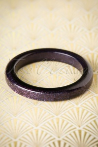 TopVintage Exclusive ~ 20s Fedora Midi Glitter Bangle in Midnight