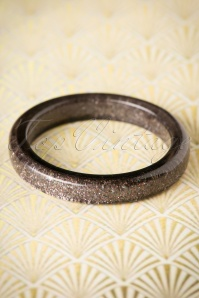 TopVintage Exclusive ~ 20s Fedora Midi Glitter Bangle in Gunmetal Grey