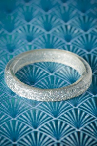 TopVintage Exclusive ~ 20s Fedora Midi Glitter Bangle in Silver