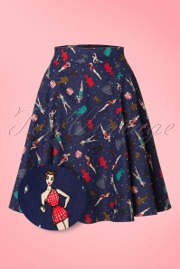 50s Tammy Paper Pin Up Doll Skirt in Navy