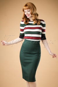 Collectif Clothing Fiona Skirt Plain in Green 18887 20160602 modelcw