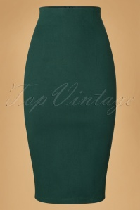 Collectif Clothing Fiona Skirt Plain in Green 18887 20160602 0003w