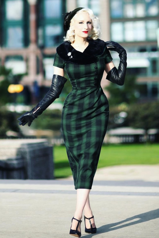 40s Rachel Tartan Pencil Dress in Green