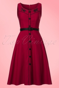 50s Marjorie Roses Swing Dress in Red