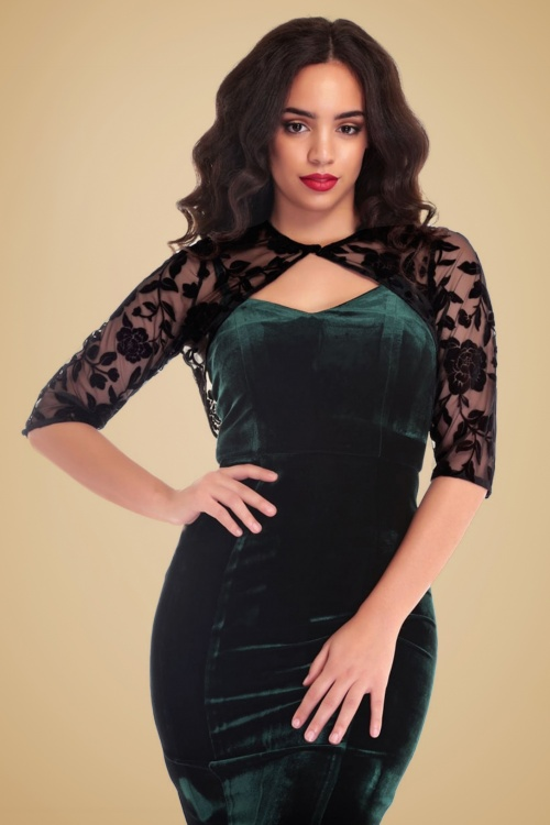 Collectif Clothing Belle Rose Brocade Bolero in Black 18920 20160602 model02w