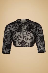 Collectif Clothing Belle Rose Brocade Bolero in Black 18920 20160602 0007w