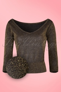 50s Bardot Lurex Jumper in Black and Gold