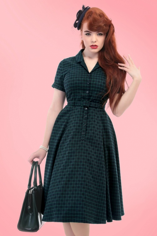 Collectif Clothing Caterina Chaise Check Swing Dress 18943 20160601 model02