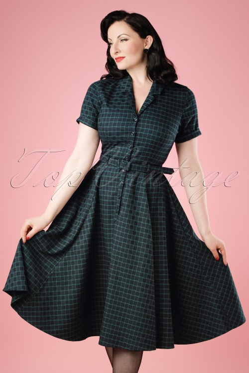 1571a6653e739 Collectif Clothing Caterina Chaise Check Swing Dress 18943 20160601  model01cw