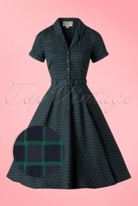 50s Caterina Chaise Check Swing Dress in Navy and Green