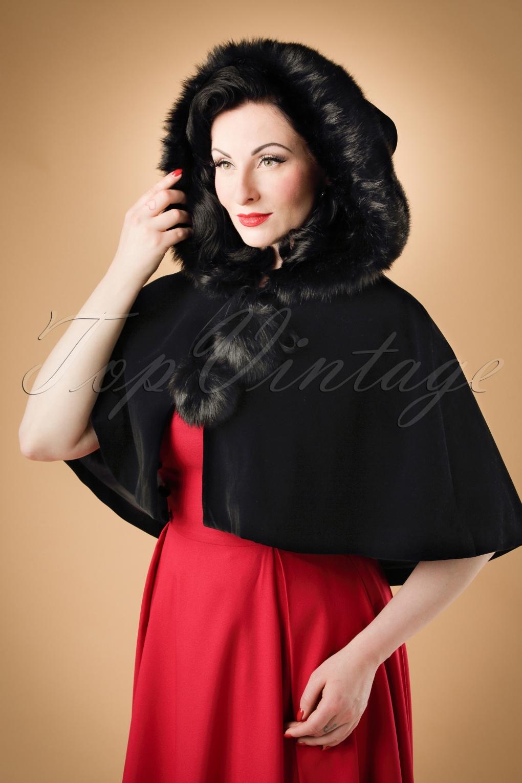 Shawls & Wraps | Vintage Lace & Fur Evening Scarves 50s Paige Hooded Velvet Cape in Black £40.88 AT vintagedancer.com
