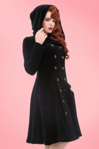 Collectif Clothing Heather Quilted Velvet Coat 18923 20160602 model02