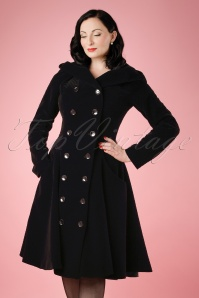 50s Heather Hooded Quilted Velvet Coat in Black