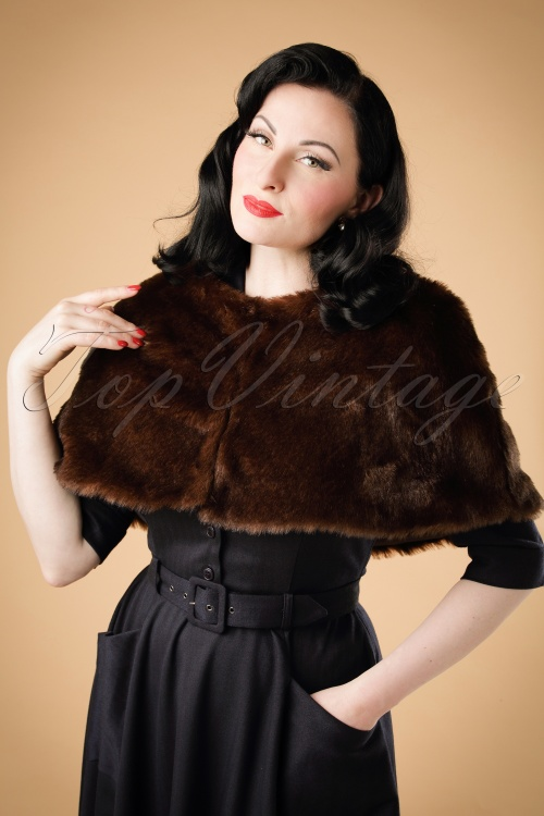 Collectif Clothing Lillian Fur Cape in Brown 18921 20160602 modelw