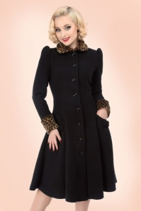 Collectif Clothing Gina Leopard Coat in Black 152 10 19931 20161007 0012
