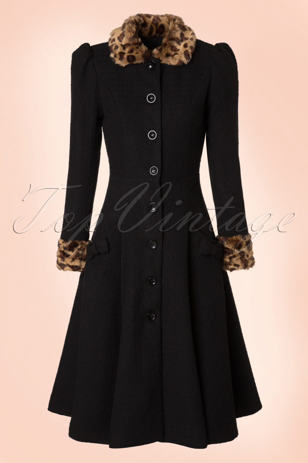 1950s Jackets and Coats | Swing, Pin Up, Rockabilly 50s Gina Leopard Coat in Black £124.95 AT vintagedancer.com