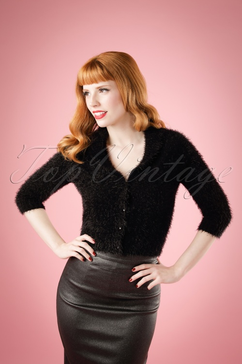 Collectif Clothing Iona Fluffy Cardigan in Black 18898 20160601 model01W