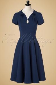 40s Riley Swing Dress in Navy