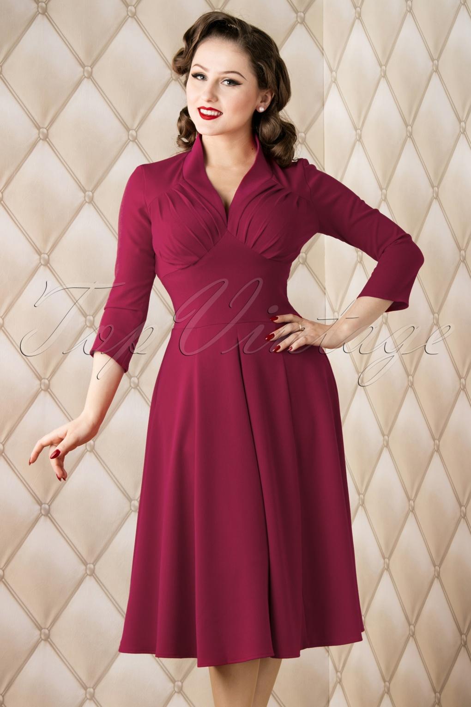 50s Vedette Swing Dress in Raspberry Pink