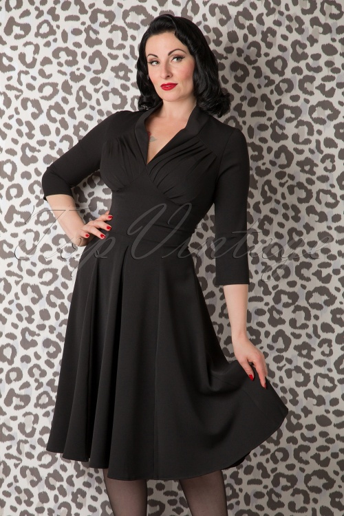 Miss Candyfloss Vedette Black Swing dress 102 10 11220 20150925 0006w