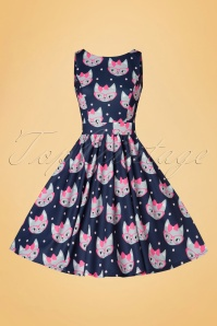 Lady V Retro Cat Print Tea Dress 102 39 20093 20161010 0015w