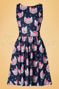 50s Retro Cat Tea Dress in Navy