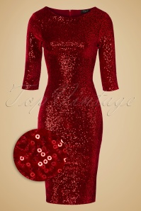 Vintage Chic Bodycon Dress Red Velvet Sequins 100 20 19617 20161010 0006wv