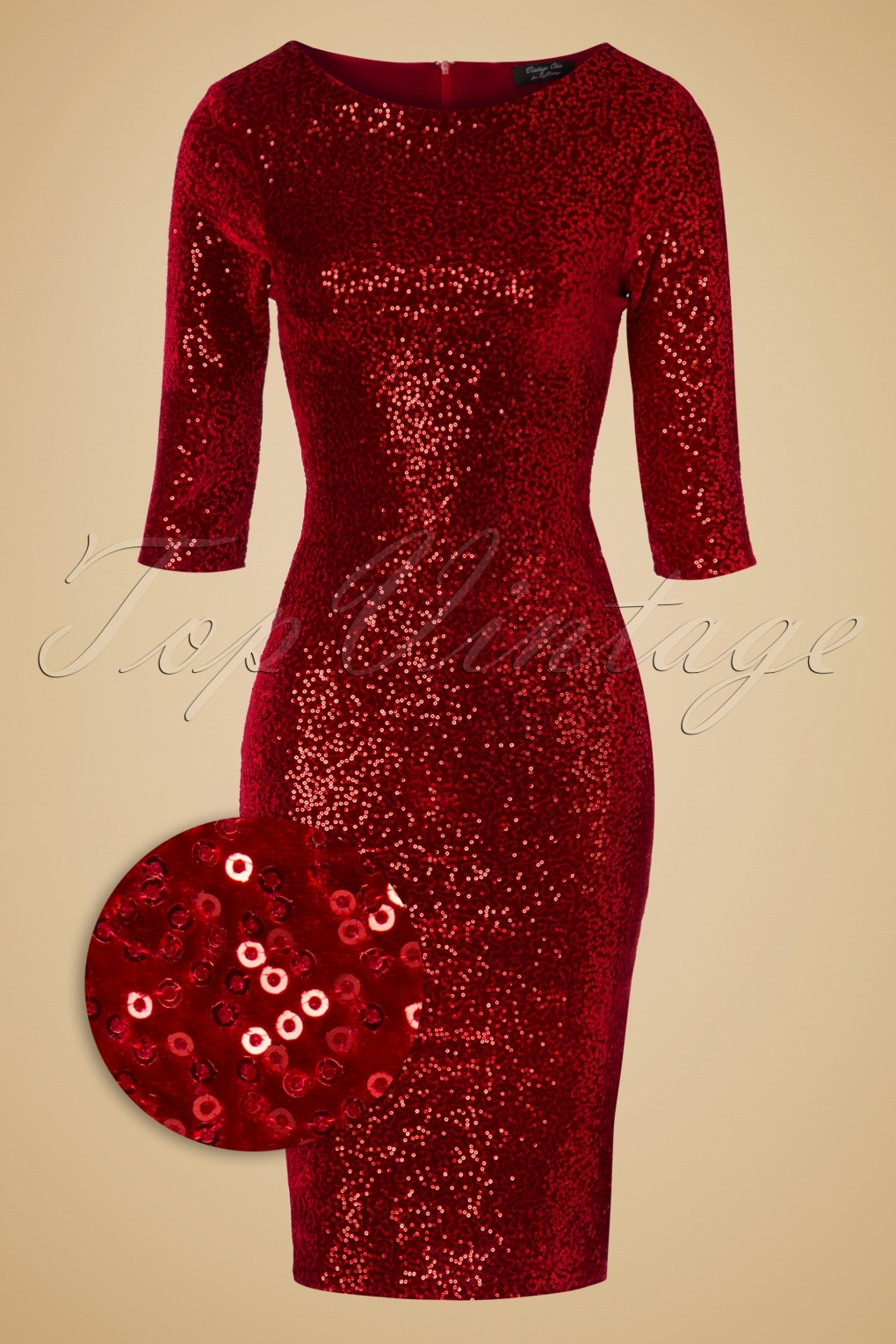 50s Twinkle Sequin Pencil Dress in Red