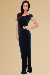 Vintage Chic Velvet Maxi Dress in Navy Blue 108 31 19634 20161010 0017