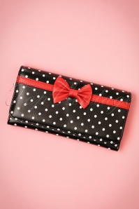 Banned Retro 50s Carla Bow Polka Purse in Black and Red