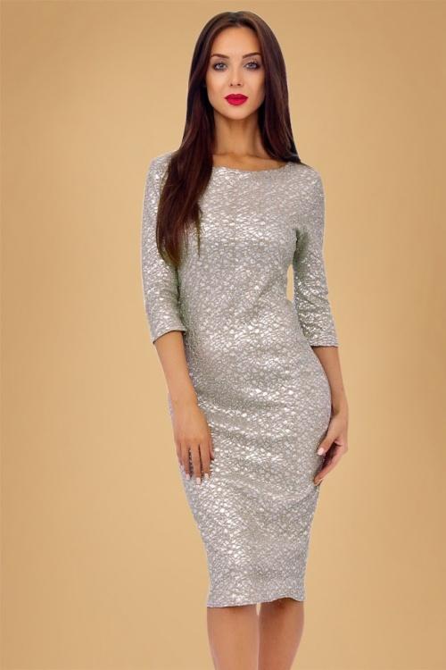 50s Sophia Glitter Pencil Dress in Beige and Silver