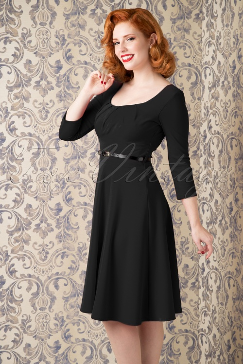 Vintage Chic Marcella Black Swing Dress 102 20 16237 09252015 02WV