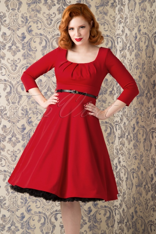 Chique Rode Jurk.50s Marcella Swing Dress In Red