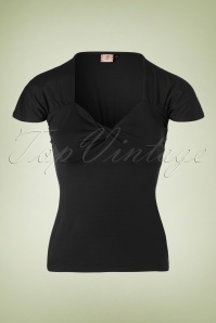 50s She Who Dares Top in Black