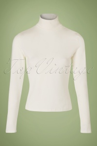 60s Classic Beauty Turtleneck Top in Ivory White