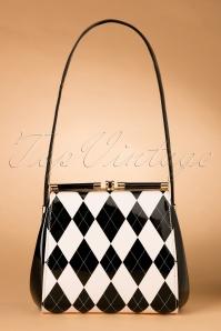 50s Eleanor Lacquer Handbag in Black and Cream