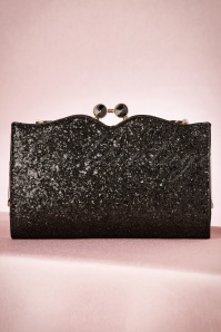 30s Simone Glitter Clutch in Black