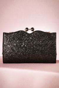 30s Simone Glitter Clutch in Black