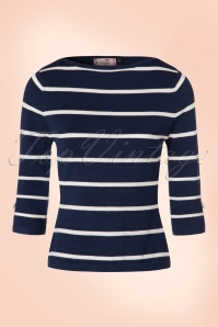50s Addicted Stripes Please Sweater in Blue