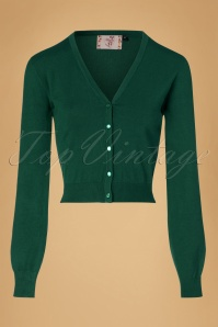 50s Little Luxury Cropped Cardigan in Dark Green