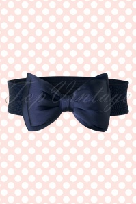 Banned Retro 50s Bella Bow Belt in Navy