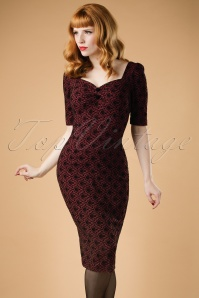 50s Dolores Brocade Pencil Dress in Wine